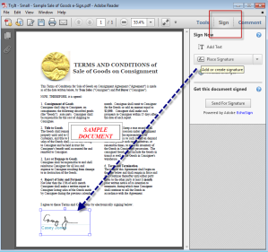 Adobe digital signature screen shot
