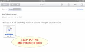 iPad PDF email attachment