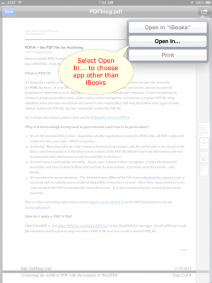 Open PDF on iPad