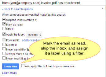 Create filter with Gmail