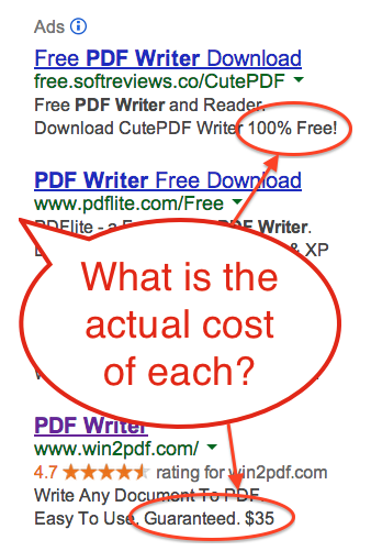 Google Search for 'PDF Writer'