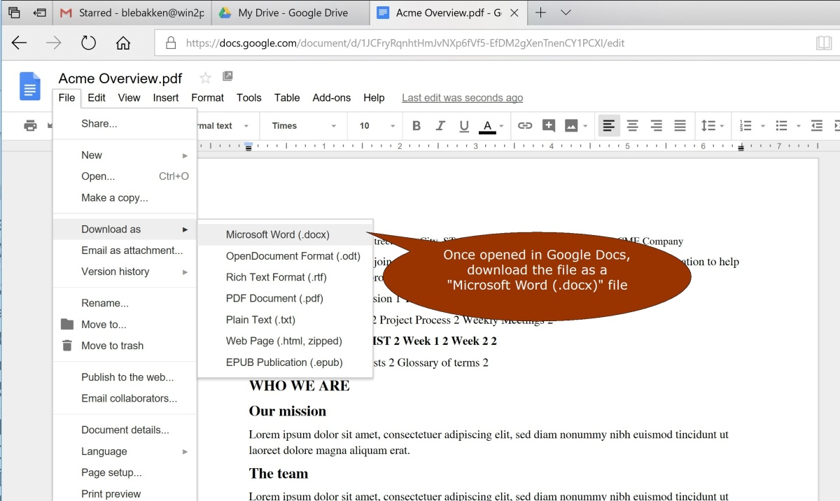 Converting a PDF file to a Word Document (for free) using Google