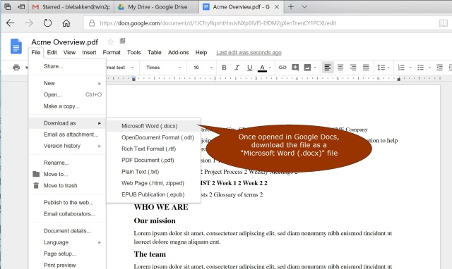Converting a PDF file to a Word Document (for free) using