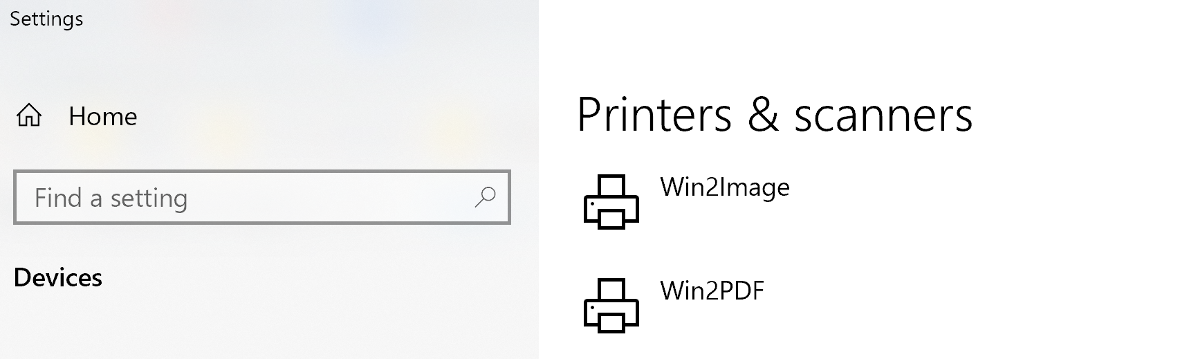 Win2Image and Win2PDF in the printers folder