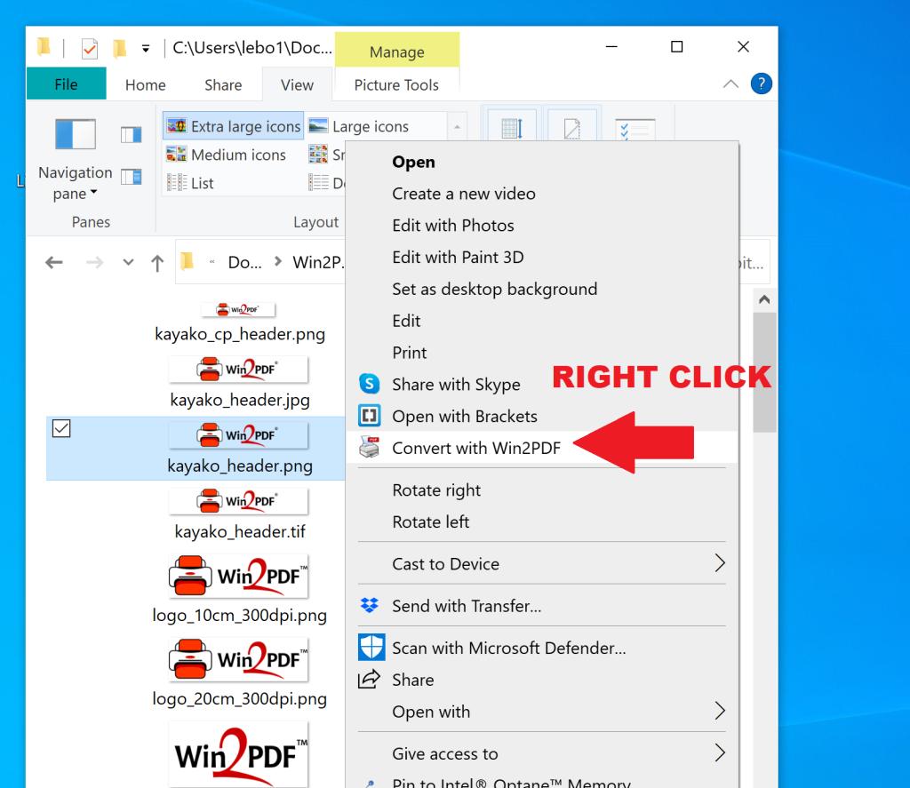 Windows explorer ight-click context menu for Win2PDF